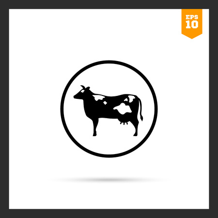 herbivorous animals: Vector icon of cow silhouette in circle