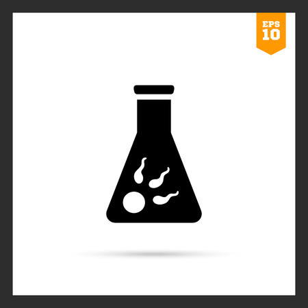 spermatozoa: Icon of egg cell with several spermatozoa in flask Illustration