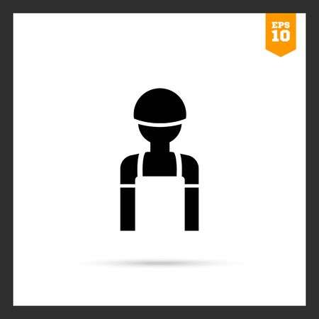 hardhat icon: Icon of man's silhouette wearing overalls and hardhat