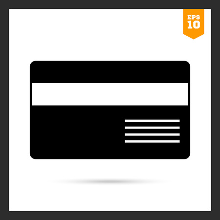 cashless payment: Vector icon of credit card with magnetic stripe and inscription