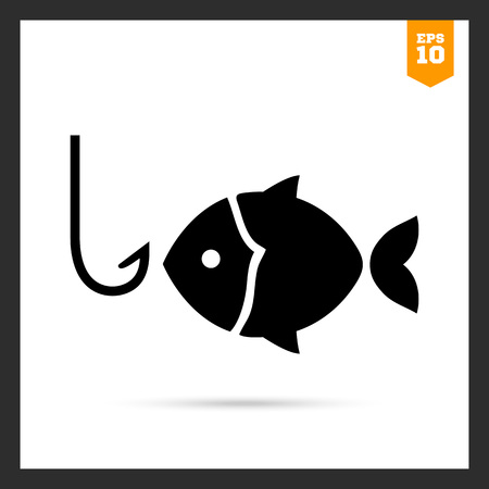 fishing area: Icon of fish silhouette and fish hook