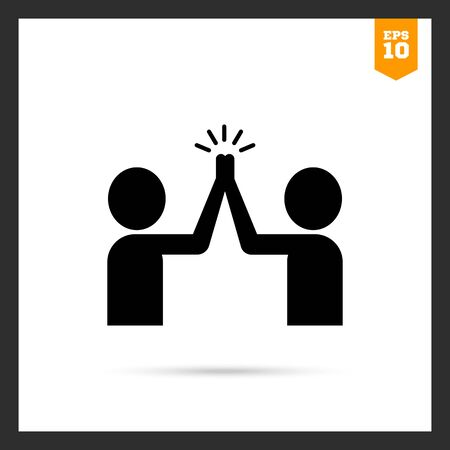 brotherhood: Vector icon of two men silhouettes giving high five Illustration