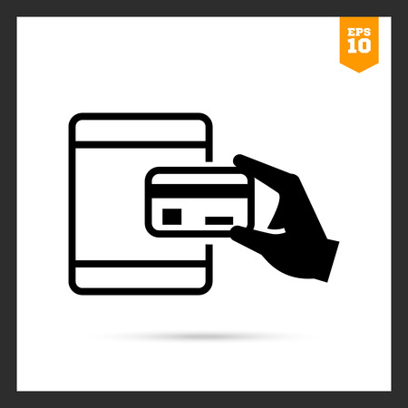 withdrawing: Vector icon of human hand holding credit card at ATM