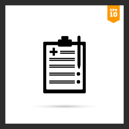 medical report: Icon of medical report on clipboard Illustration
