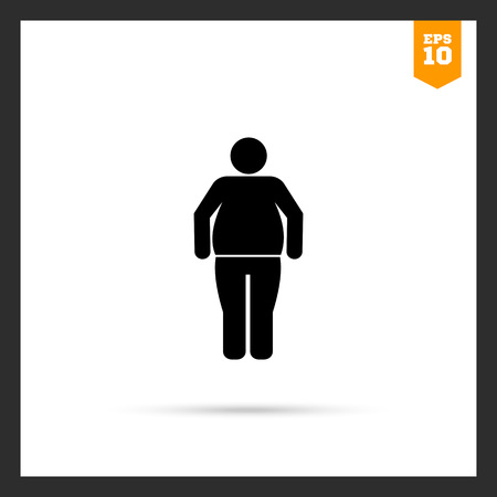 excess: Vector icon of standing obese man silhouette Illustration