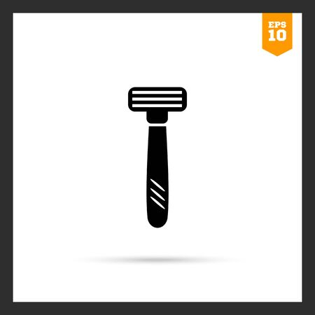 removing: Vector icon of safety razor with tree blades