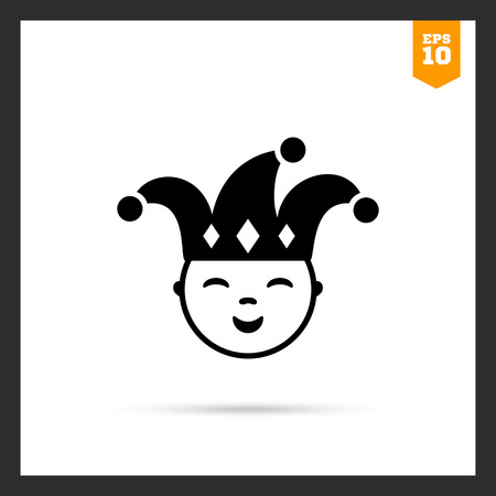 young people fun: Vector icon of smiling jester wearing hat with bells Illustration
