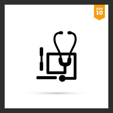 stethoscope: Icon of stethoscope and tongue depressors Illustration