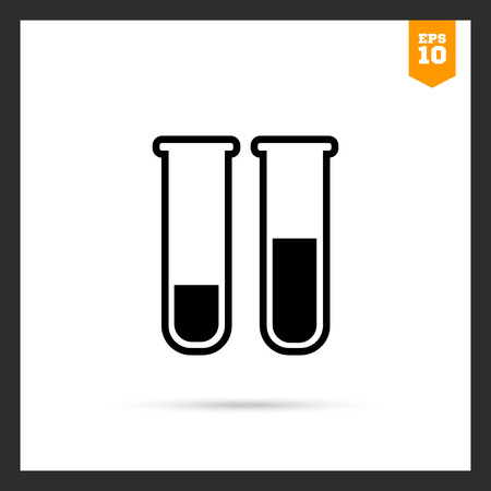 a solution tube: Vector icon of laboratory test tubes with liquid