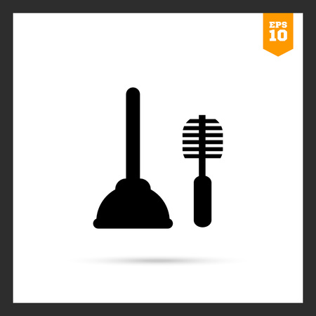 household chores: Icon of plunger and toilet brush