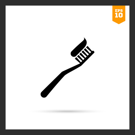 applied: Vector icon of toothbrush with applied toothpaste portion Illustration