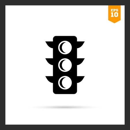 guiding light: Vector icon of black traffic light silhouette