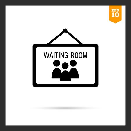 small room: Icon of waiting room sign Illustration