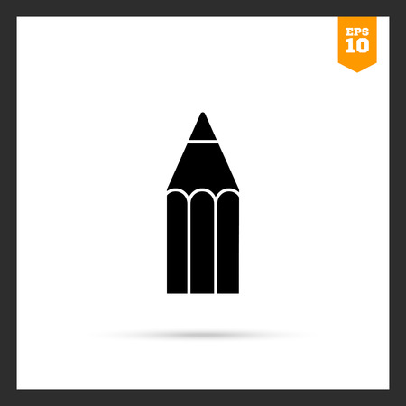 writing equipment: Vector icon of wooden pencil upper part and tip