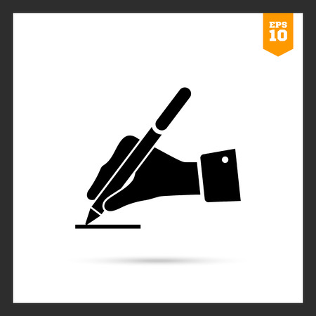 signing document: Icon of man's hand writing with pen Illustration