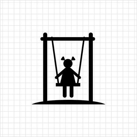 recreation: Icon of girl silhouette sitting on swing