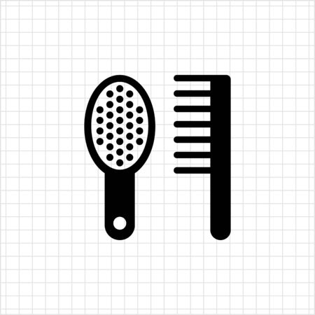 comb: Icon of hairbrush and comb Illustration