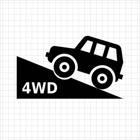 four wheel: Vector icon of four wheel drive car moving up hill Vettoriali