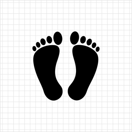 imprints: Vector icon of imprints of human bare feet