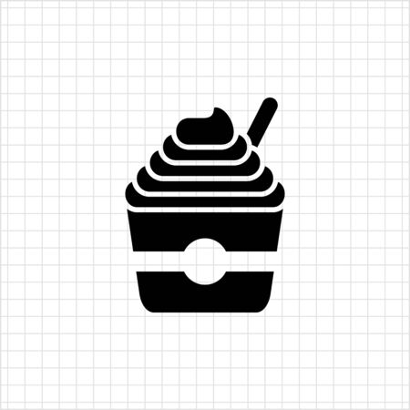 soft ice: Vector icon of soft ice cream served in bucket with spoon Illustration