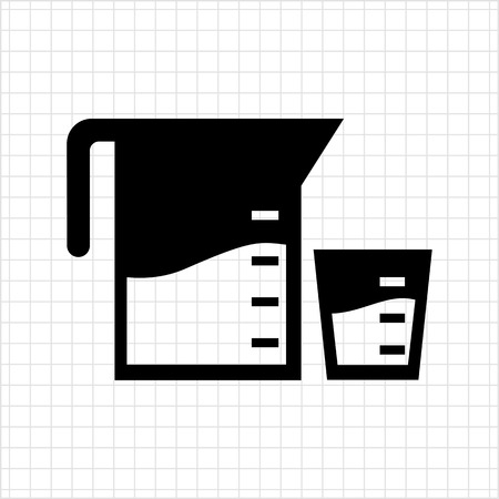 measuring: Vector icon of measuring jar and cup filled with liquid