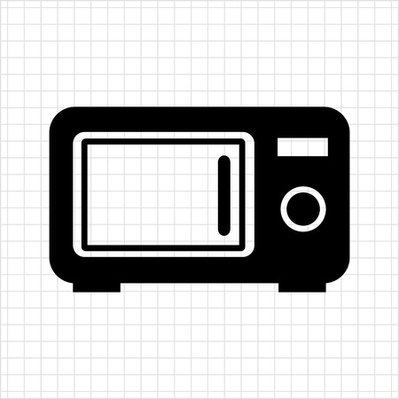 microwave ovens: Vector icon of kitchen microwave oven silhouette Illustration