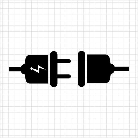 plug socket: Vector icon of plug with lightning sign and socket