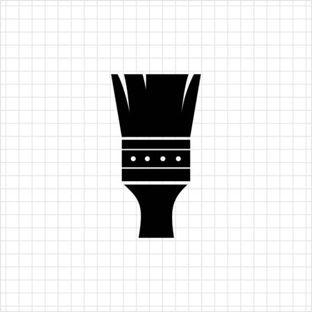 painting brush: Vector icon of black painting brush silhouette