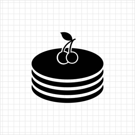 carbohydrate: Vector icon of pancakes stack with cherries on top