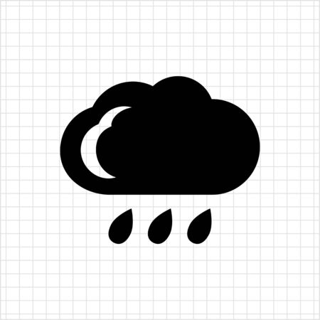 humidity: Icon of cloud and few falling raindrops Illustration