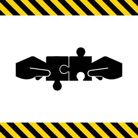 connecting: Vector icon of human hands connecting puzzle elements
