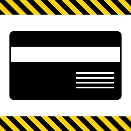 cashless: Vector icon of credit card with magnetic stripe and inscription