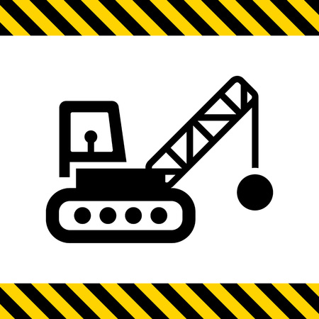 chain ball: Icon of crane with wrecking ball