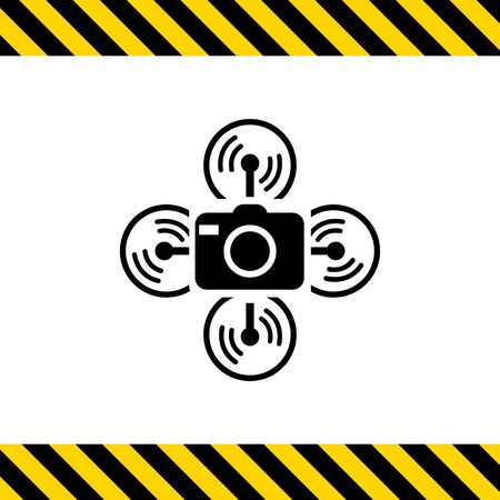 spy camera: Vector icon of flying drone with spy camera
