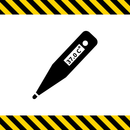 indication: Vector icon of electronic thermometer with indication
