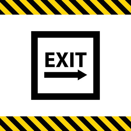 right side: Icon of exit sign with arrow to the right side