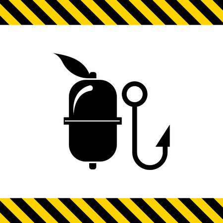 fishing float: Vector icon of fishing float and hook