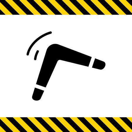 boomerang: Vector icon of black flying boomerang silhouette