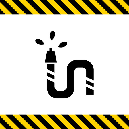 gardening hoses: Vector icon of garden hose pouring water