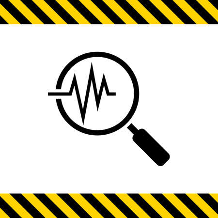 diagnosis: Icon of magnifying glass on electrocardiogram