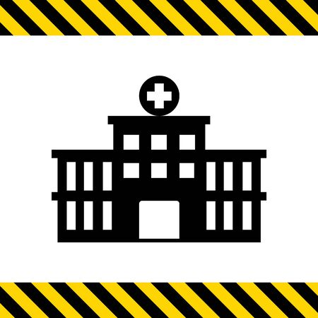 ambulatory: Vector icon of hospital building front silhouette
