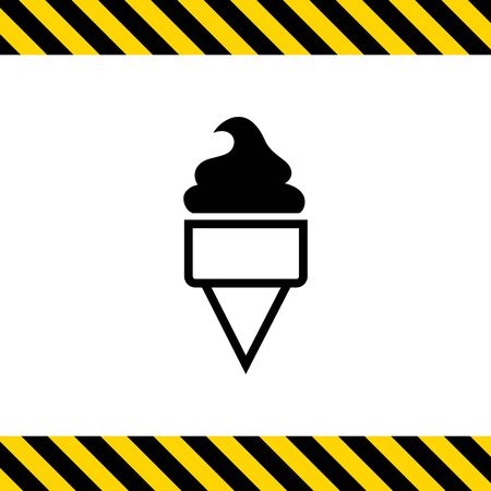 soft ice: Vector icon of soft ice cream in waffle cone Illustration
