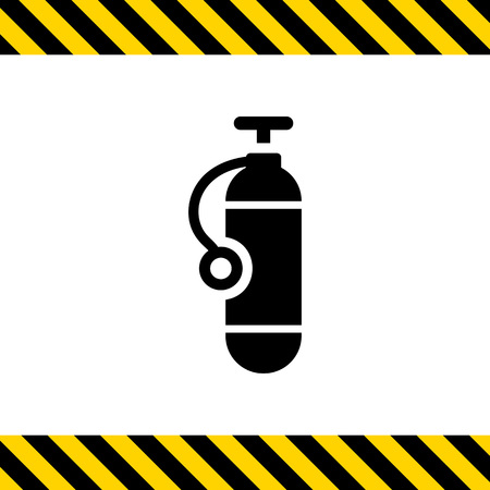 scuba diving: Icon of single scuba diving cylinder silhouette Illustration