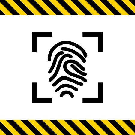 finger print: Icon of finger print in frame Illustration