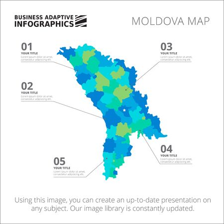 moldovan: Editable template of detailed map of Moldova, isolated on white Illustration