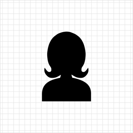 head shoulders: Icon of womans head silhouette Illustration