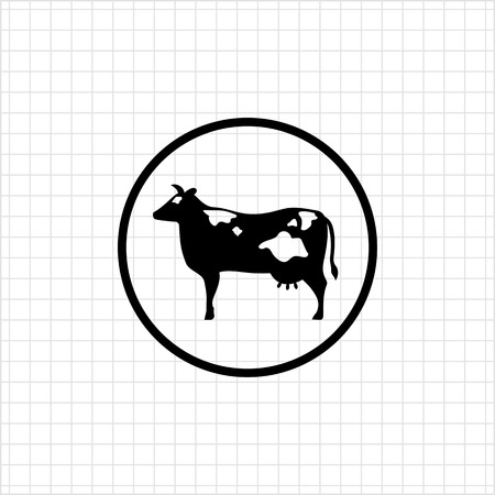 udders: Icon of cow silhouette in circle
