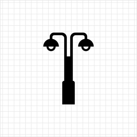 street lamp: Icon of street lamp with double lantern Illustration