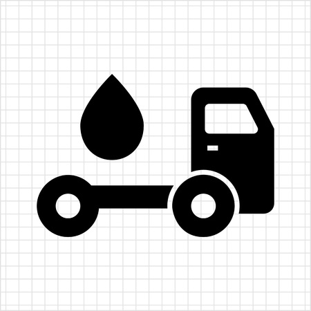 tanker: Icon of tanker truck with fuel drop