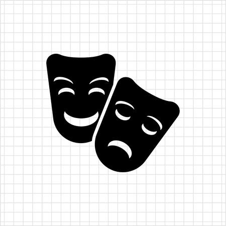 caretas teatro: Icono de comedia y tragedia máscaras de teatro